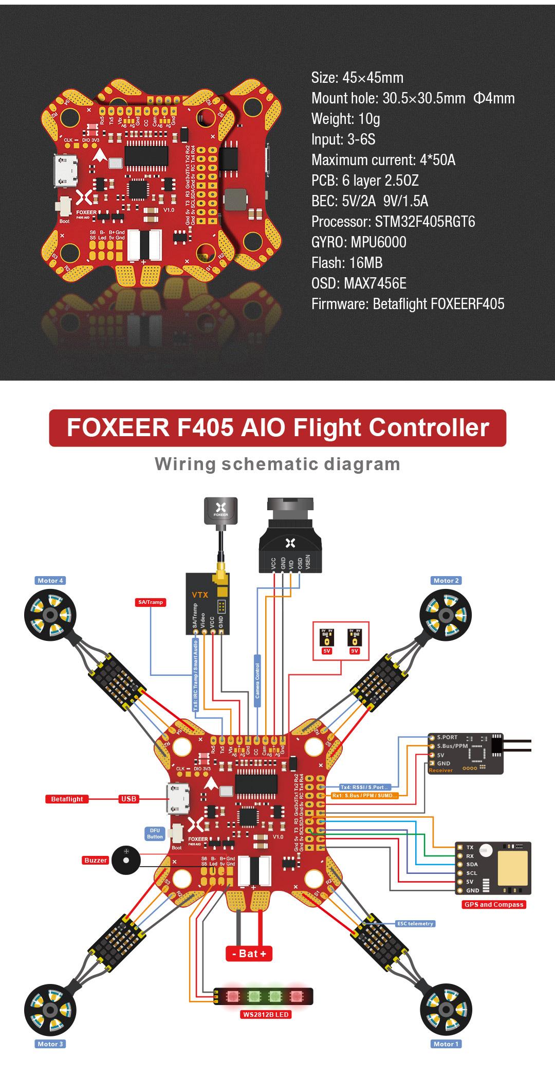 FOXEER F405 AIO BetaFlight Flight Controller